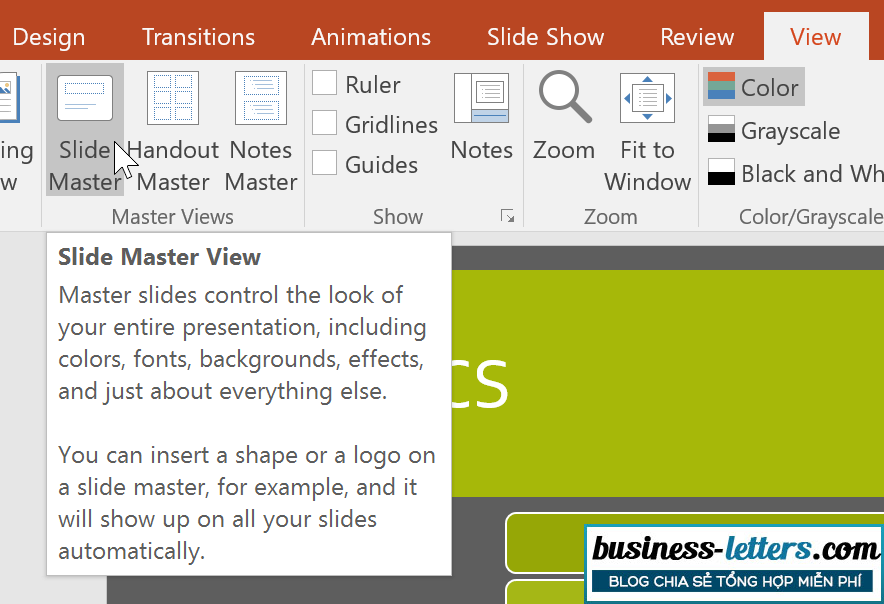 Slide Master trong PowerPoint