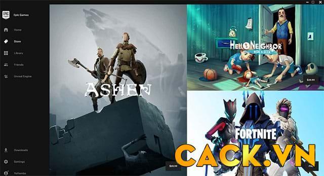Giao diện chính của Epic Game Store
