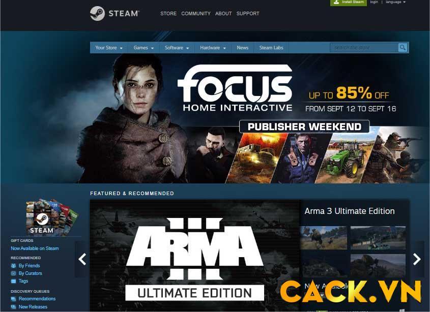 Giao diện của ứng dụng cập nhật Steam trực tuyến Game