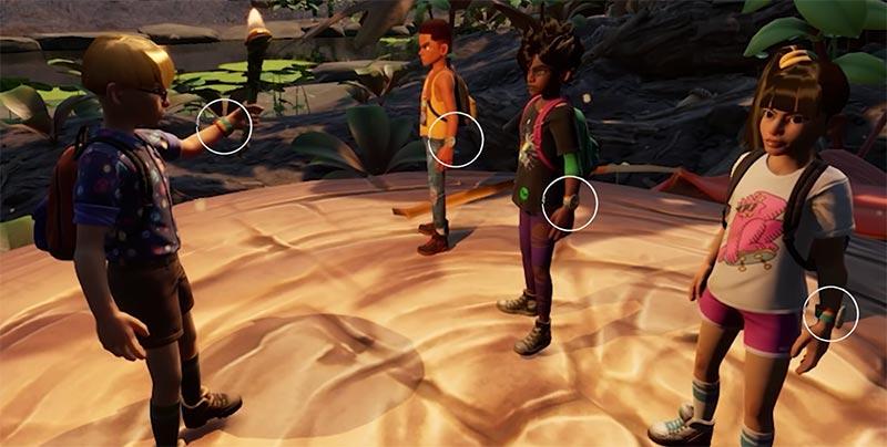 Grounded phân tích Game rằng các nhân vật có một điểm chung, dây đeo cổ tay