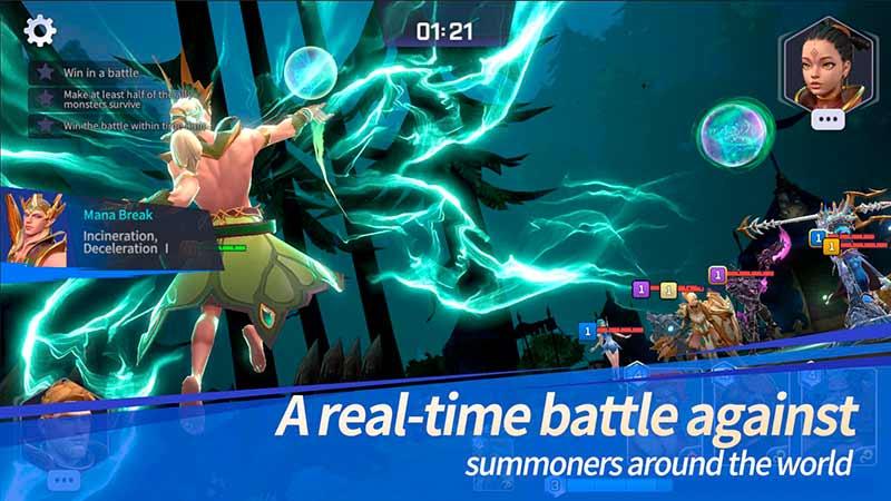 Hệ thống Game di động chiến lược thời gian thực Mana Summoners War Lost Centuria