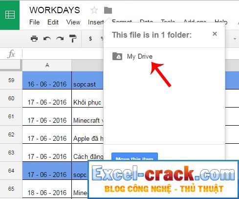 Sao chép dữ liệu từ Google Tài liệu sang Google Drive