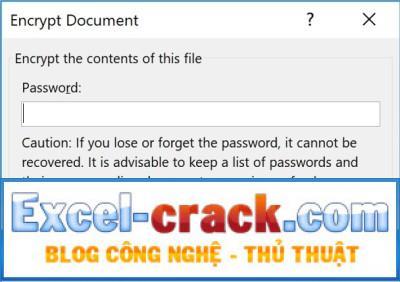 Nhập mật khẩu để bảo vệ File Excel