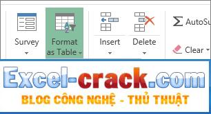Định dạng bảng trong Excel Online