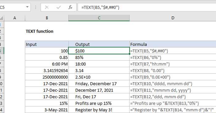Hàm TEXT trong Microsoft Excel