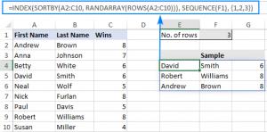 Nhận các dòng ngẫu nhiên không có bản sao trong Excel