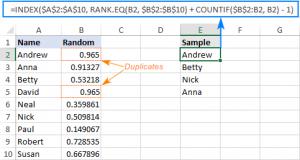 Nhận dữ liệu ngẫu nhiên bằng công thức Excel