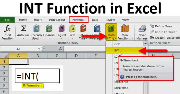 Cách sử dụng hàm INT cơ bản trong Excel