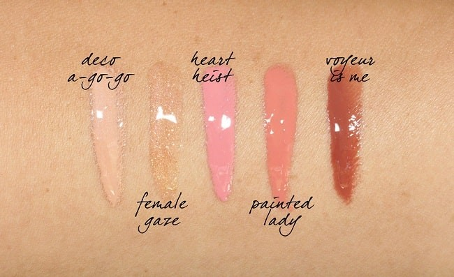 Swatch 5 màu son MAC Loud and Clear Lipglass