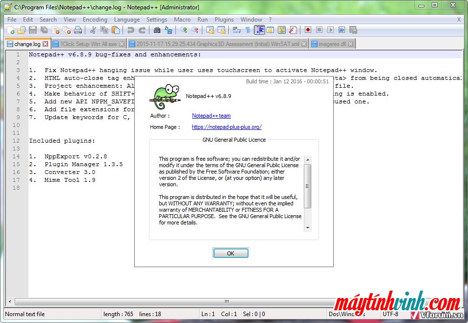Phiên bản phần mềm Noteped ++ cho win 7