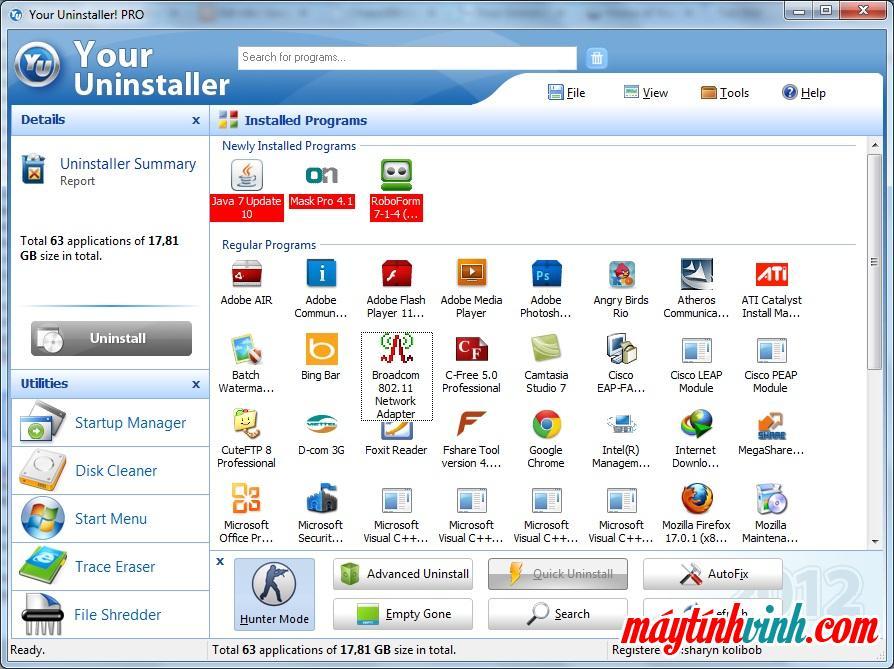 Trình gỡ cài đặt của bạn có phần mềm máy tính cho Windows 7