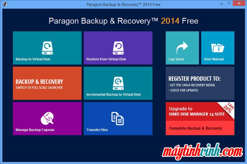 Phần mềm máy tính Paragon Backup & Recovery cho Windows 7