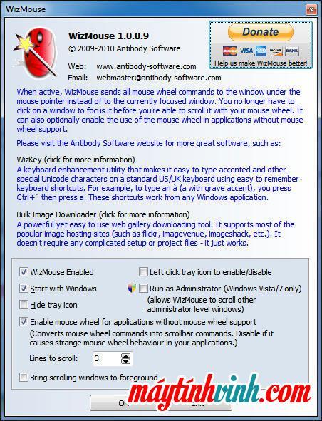Phần mềm WizMouse cho sản xuất máy tính win 7