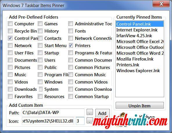 Mục thanh tác vụ Phần mềm Pinner cho Windows 7