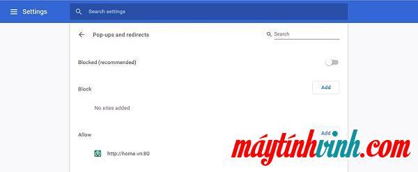 Quay lại trang Cài đặt, tìm và chọn Cửa sổ bật lên và chuyển hướng