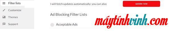 Nhấp vào Lọc danh sách trong hộp Quảng cáo được chấp nhận và bỏ dấu tích ngay lập tức