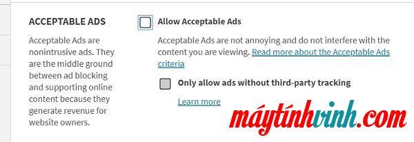 Bạn bỏ chọn ngay hộp Cho phép quảng cáo được chấp nhận
