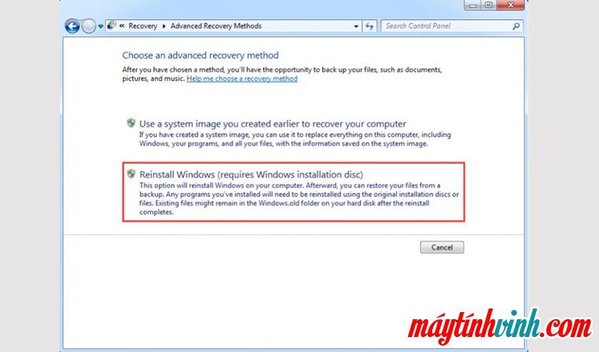 Chọn mục Cài đặt lại Windows