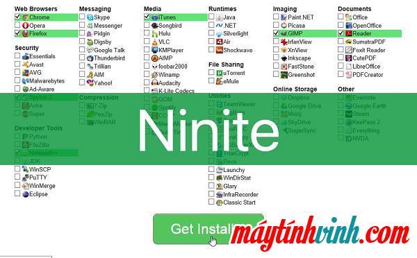 Quản lý cài đặt phần mềm Ninite