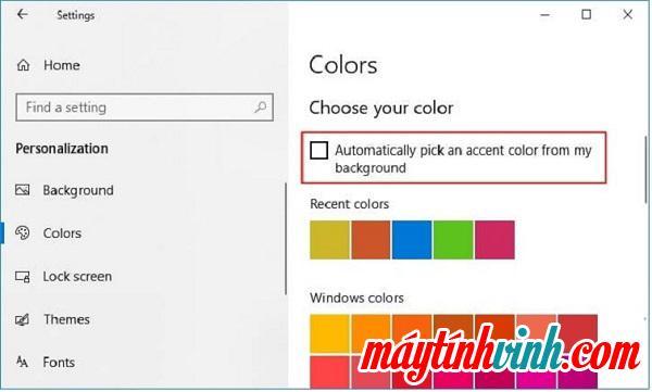 Chọn Tự động chọn màu nhấn từ nền của tôi