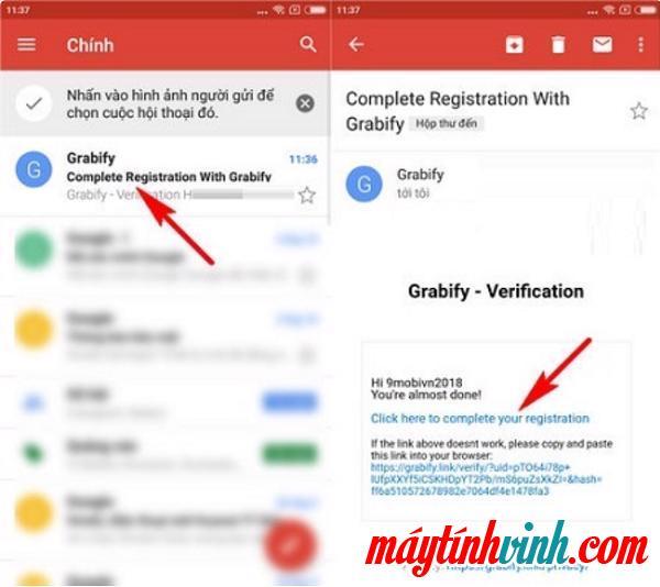 Vào Email, nhấp để chọn thư được gửi từ Grabify