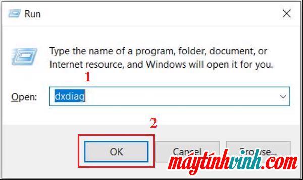 "Windows + R -> nhập lệnh dxdiag -> bấm OK"" style=""width: 600px;"" title=""Windows + R -> nhập lệnh dxdiag -> bấm OK""></p> <p style="