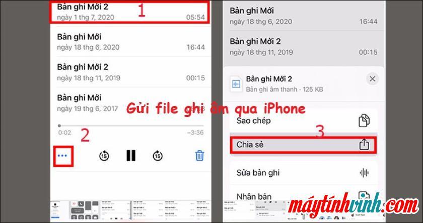 Gửi các tập tin ghi âm qua iPhone