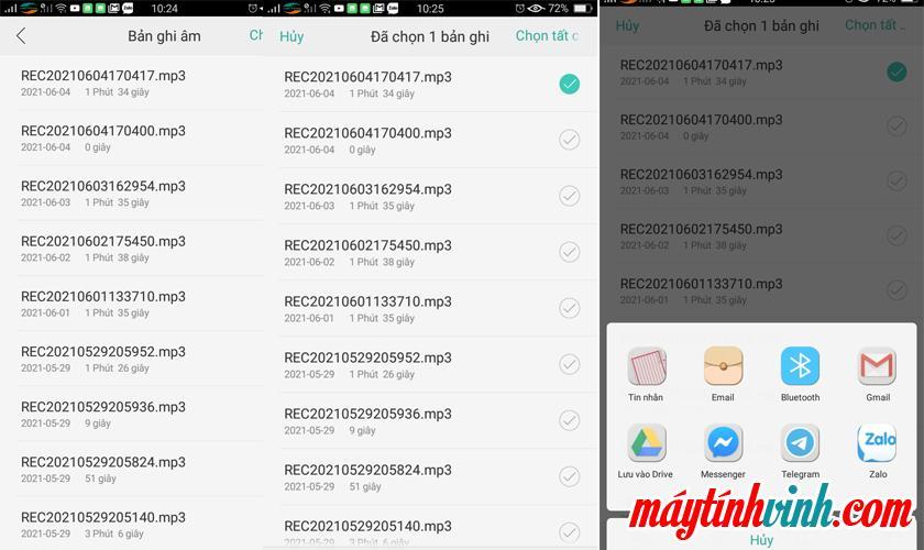 Gửi tệp ghi âm trên Android
