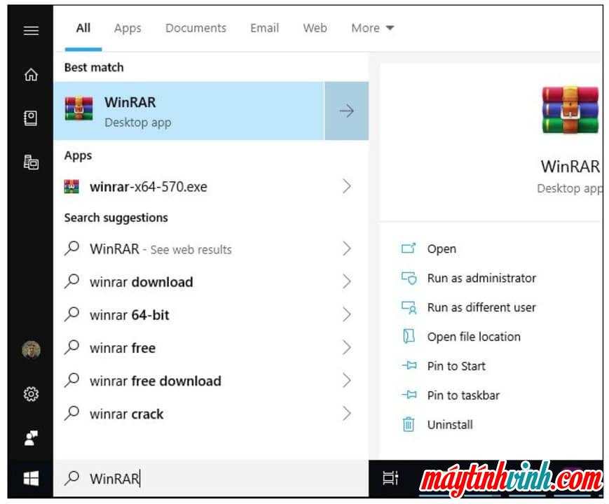 Tìm WinRAR trên Windows 10
