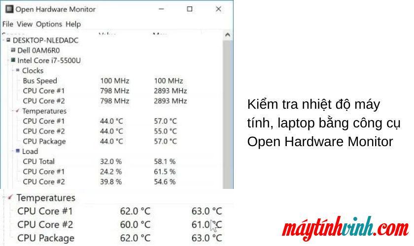 Kiểm tra nhiệt độ máy tính xách tay bằng Màn hình phần cứng mở