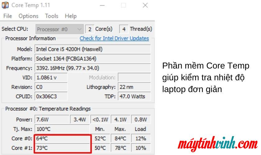 Đo nhiệt độ máy tính xách tay với Core Temp.  phần mềm