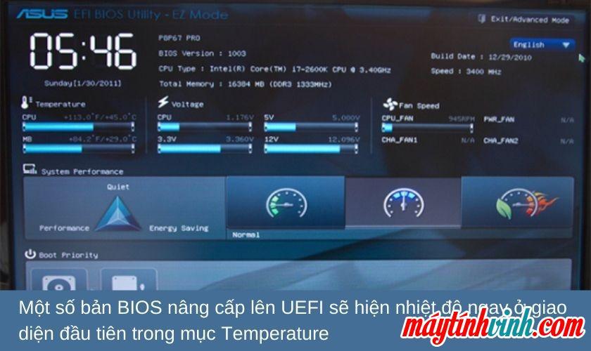 Kiểm tra nhiệt độ máy tính xách tay trong BIOS