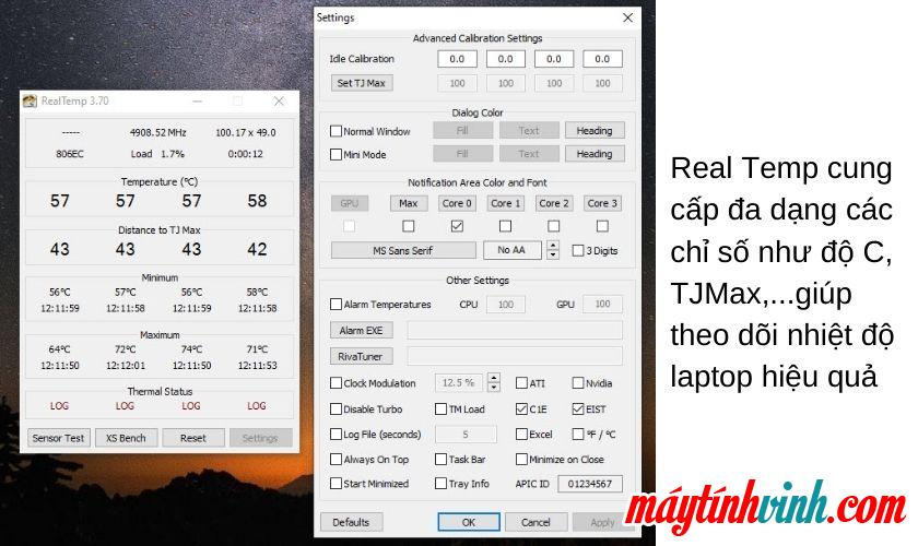 Nhiệt độ thực - phần mềm kiểm tra CPU - GPU