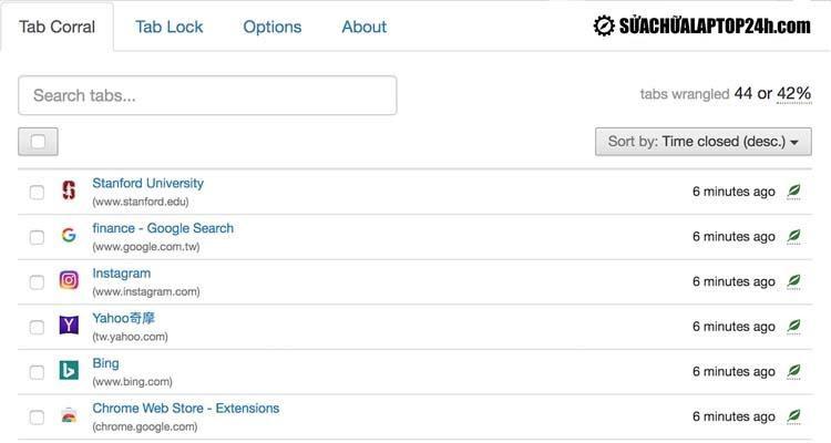 Giao diện của tiện ích bổ sung cho Chrome Tab Wrangler