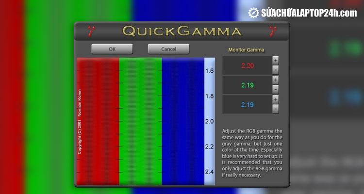 QuickGamma 4.  giao diện phần mềm