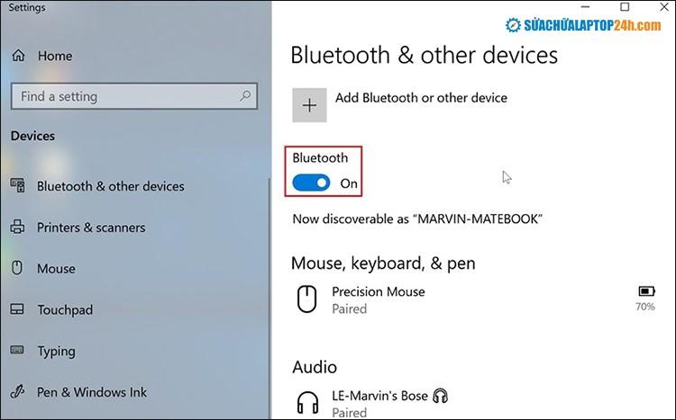 Bật Bluetooth trên Windows 10