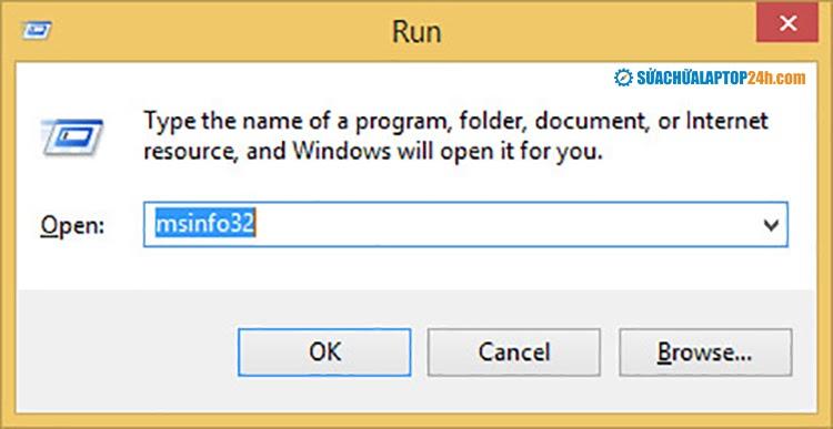 Sử dụng lệnh msinfo32