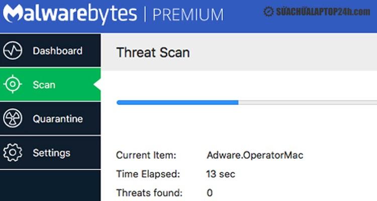 Giao diện Malwarebytes Anti-Malware