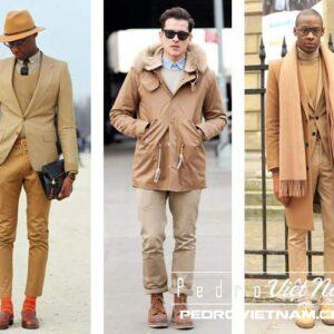 Diện thời trang nam thu đông cùng màu camel
