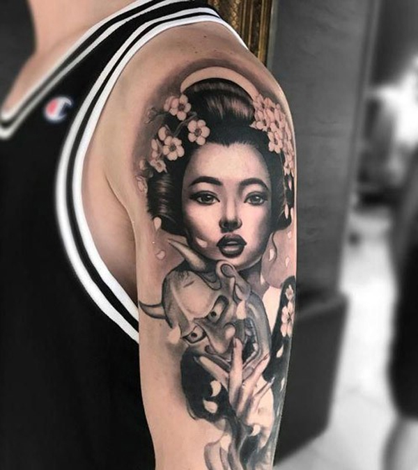 Hình xăm Geisha Nhật Bản