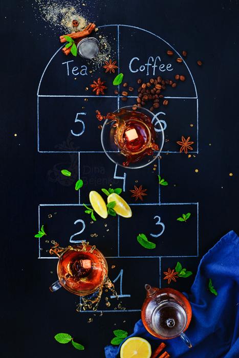 chụp ảnh trà và cà phê