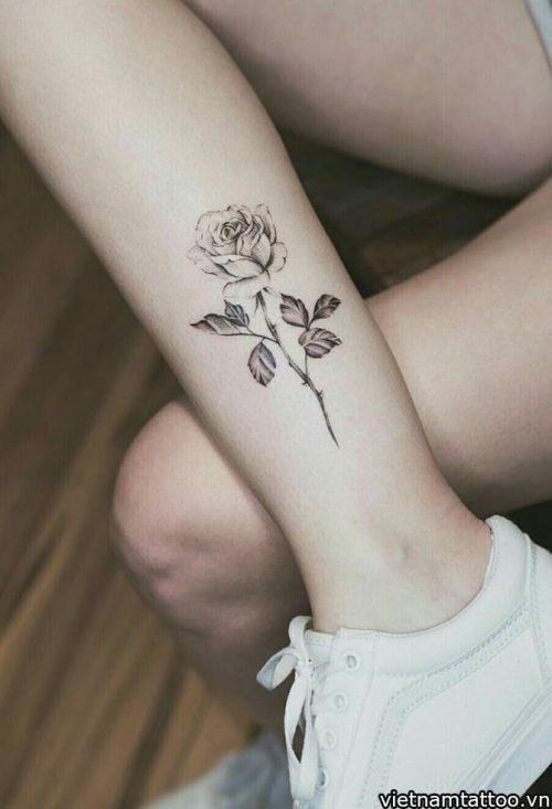 Hình xăm hoa hồng trên chân