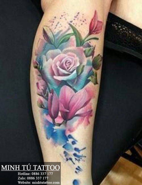 Hình xăm hoa hồng trên bắp chân