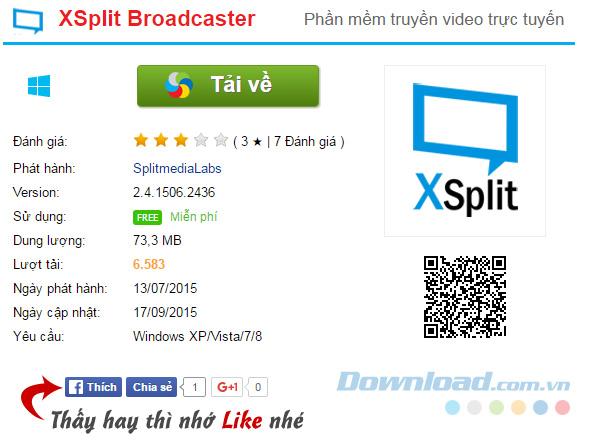 Tải xuống phần mềm XSplit Broadcaster