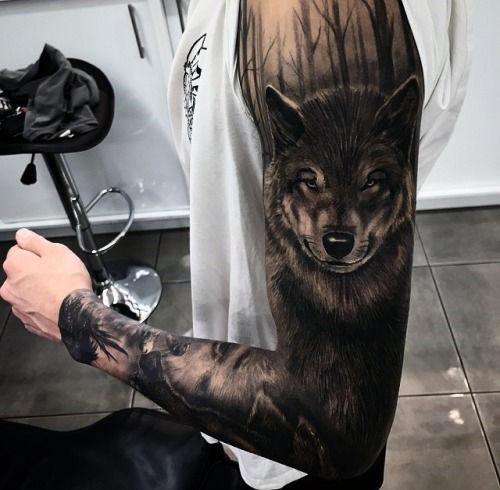 Hình xăm chó sói không tay