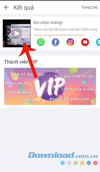 Bấm vào video để xem lại
