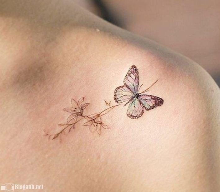 hình xăm bướm đẹp, hình xăm bướm đẹp ở bả vai