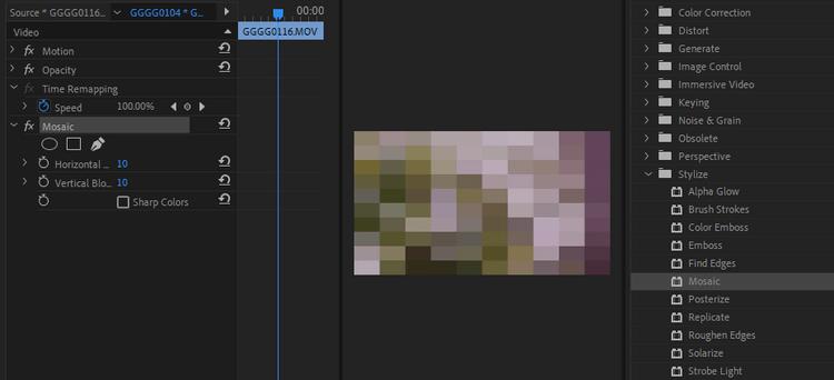 Hiệu ứng tiêu chuẩn trong Adobe Premiere Pro