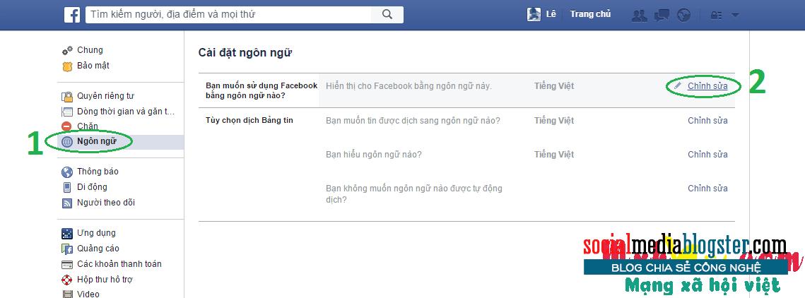Cài đặt ngôn ngữ cho tài khoản facebook