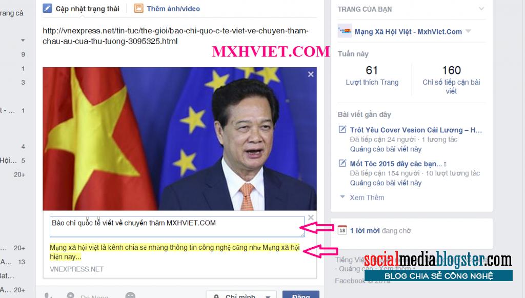 Tạo một tiêu đề trạng thái trên facebook